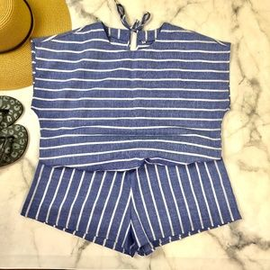 Pants - NWOT Blue and White Romper XL
